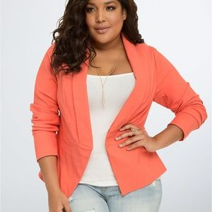 Torrid Cut Away Fit Blazer 2X Orange Stretchy